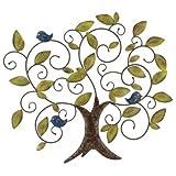 Regal Art & Gift Wand-Deko - Metall Wand Decor 96 Blue Bird Tree of Life - Wetterfest - Abmessung: 96x82cm - inkl. Aufhängung