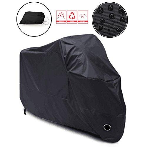Lypumso Cubierta Protectora de Moto Resistente al Agua, Protección UV para Moto Garaje./Protección con funda 265 * 105 * 125 CM XXXL Negro