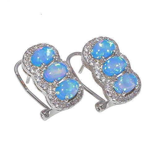 S-PJZ Weiß Blau Zirkonia Silber Überzogene Frauen Schmuck Clip Ohrringe Mode Ohrringe, Ohrringe 2, a - Platin-geld-clip