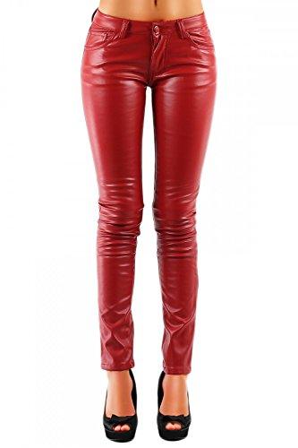 Damen Kunstlederhose Glanz-Optik Glänzend Skinny (Röhre) 320, Grösse:S / 36;Farbe:Rot