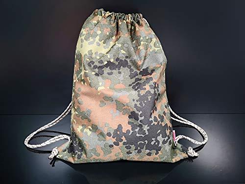 GAZZI Camouflage Army Turnbeutel Rucksack Sportbeutel City Bag - Aus original Deutsche Bundeswehr Zelten hergestellt - Armee Flecktarn