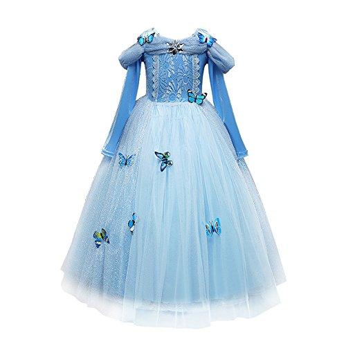 IWEMEK Robe De Cendrillon Robe De Princesse Costume d'halloween Canaval Noël Cosplay Partie Papillon Déguisements Robe de Soirée Photographie Cérémonie Anniversaire pour Filles Bleu 6-7 Ans