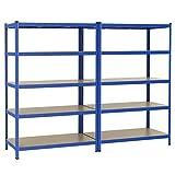 Yaheetech 2x Lagerregal 180x120x60 cm Kellerregal 875kg Steckregal blau 5 MDF-Platten Werkstattregal Schwerlastregal