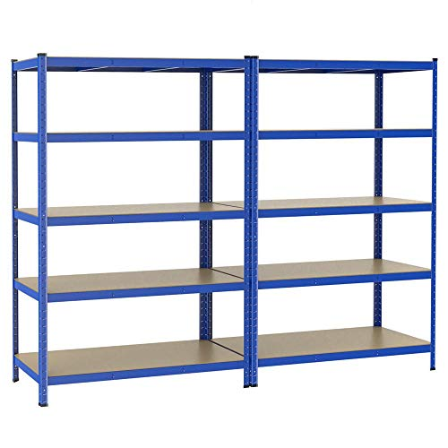 Yaheetech 2 x Étagères Charge Lourde 180 x 120 x 60 cm Clipsable Résistant Capacité 875 kg Meuble de Rangement Garage Cuisine Chambre Bleu