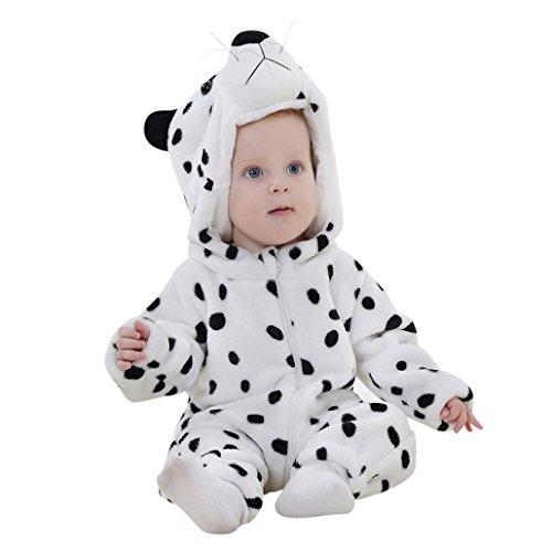 Baby Outfits, FEITONG Newborn Baby Jungen Mädchen Schnee Leopard Karikatur Hooded Spielanzug Outfits (3T, Weiß)