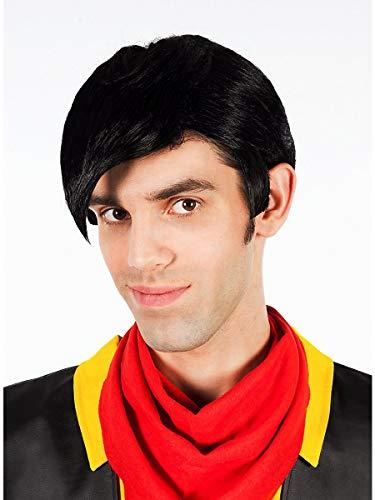 Lucky Luke Perücke für Erwachsene mit Haar-Tolle - schwarz - Einheitsgröße