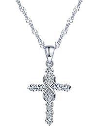 yumilok Jewelry–Pendientes de plata de ley 925Circonita Elegante símbolo de infinito cruz colgante collar para las mujeres/niñas