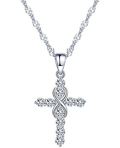 Yumilok 925 Sterling Silber Zirkonia Einzigartig Kreuz Unendlichkeit Zeichen Charm Anhänger Halskette Kette mit Anhänger für Damen