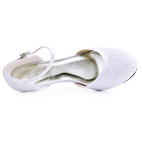 ElegantPark HC1620 Femme Escarpins Dendelle Bride cheville Fermé Toe Talon Bas Chaussures de Mariée Mariage Blanc
