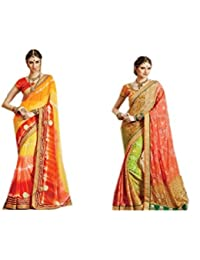 Mantra Fashions Women's Georgette Saree (Mant40_Multi)-Pack of 2