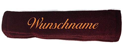 Preisvergleich Produktbild Gurtpolster bordeaux rot Gurtschoner mit Name bestickt Stickerei Velour Klettverschluss Wunschtext (1)