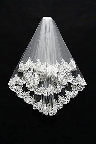 GZQW Die Brautschleier zwei Schichten von 80 cm blush SpitzeApplique Kapelle Schleier + Kammkante , ivory , 80cm