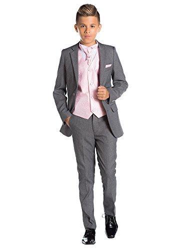 Paisley of London, grau für Jungen Kostüm, Slim Fit Kostüm, Wirbel Weste & Krawatte, 12–18Monate–13Jahre Gr. Für Kinder (4 Jahre), Rosa - Rosé (Costume Gris Cravate)