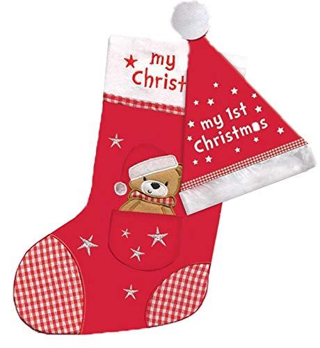 Baby's Erste Hut Strumpf Party Geschenk Süß Teddybär Taschen Mein 1. Weihnachten Spielzeug Deko