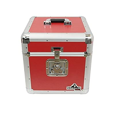 "Gorilla LP 12"" Vinyl Record Box Storage Flight Case Red inc Lifetime Warranty"