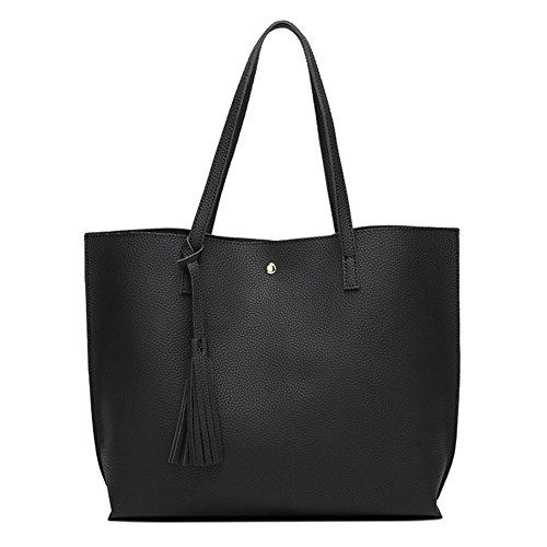 jEZmiSy All-Match Korean Style Damenmode Große Kapazität Tote Schultertasche Handtasche Black