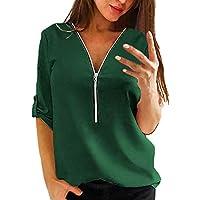 Yvelands Mujer Tops Casual Camisa de Mujer con Cuello En V Cremallera Suelta Camiseta Blusa Camiseta