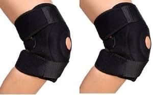 Auxter Adjustable Knee Support Patella,Free Size Black (Pair of 2 pcs)
