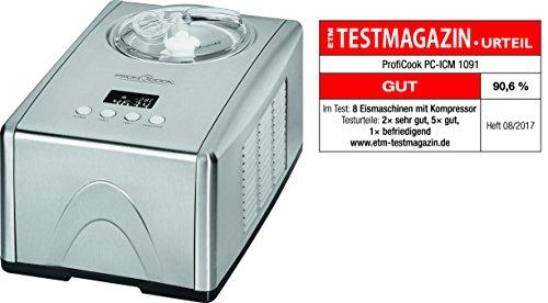 emma eismaschine Profi Cook PC-ICM 1091 Eismaschine (3 in 1 für Speiseeis, Frozen Joghurt und Sorbet, Kompressor-Kühlung, LCD-Display, für bis zu 1,5 l Speiseeis) edelstahl