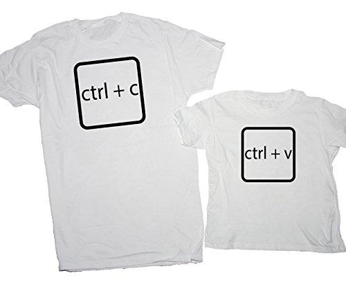 T-Shirt Festa del papà coppia nerd Pc windows copia incolla - Eventi Bianco