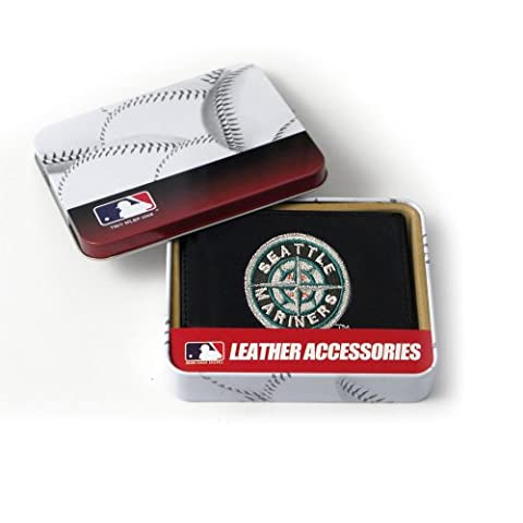 MLB Seattle Mariners Embroidered Genuine Cowhide Leather Trifold
