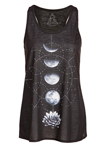 Pretty Attitude Schwarzes Damen Yoga Tank Top T-Shirt mit Lotus Blume und Mond Design – Gr. S