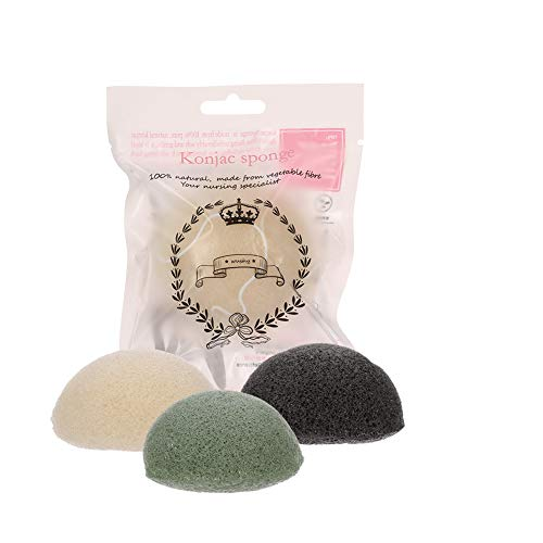 dgaf&bae Konjac Schwämme Gesichtsschwamm 4 Stück Gesichtsreiniger Für Unreine und Fettige Haut Natürliche Konjac Sponge