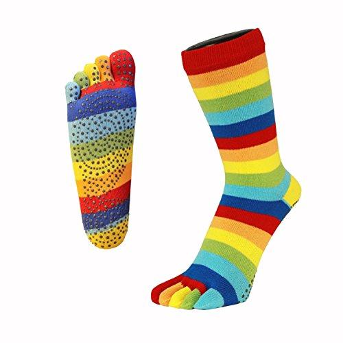 Toetoe - Yoga et Pilates - Semelle antidérapante - Chaussettes à Orteils (UK 6-8.5 | EU 40-43, Rainbow)