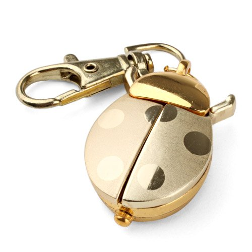 gold-quartz-analogue-keychain-key-ring-watch-pendant-golden-ladybug-lady-bug-pocket-watch