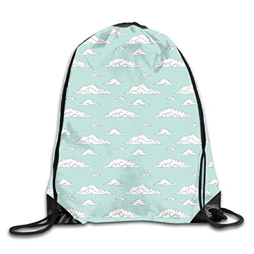 HRTSHRTE Drawstring Backpack Gym Bags Storage Backpack, Cartoon Style White Fluffy Clouds In The Clear Summer Sky Doodle Pattern,Deluxe Bundle Backpack Outdoor Sports Portable Daypack