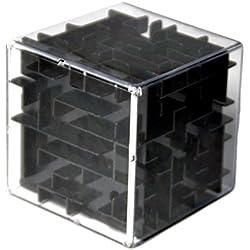 Cubo laberinto tridimensional. Juego de coordinación y destreza. Negro