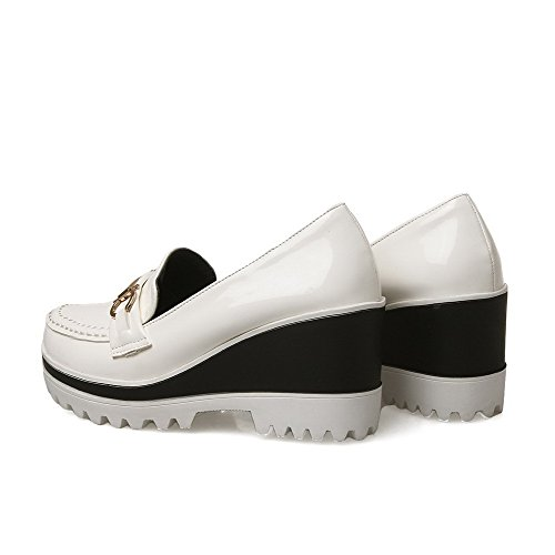 AllhqFashion Damen Ziehen Auf Hoher Absatz Pu Leder Rein Pumps Schuhe Weiß