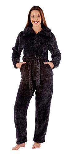 i-Smalls Femme Sarah Hiver Pyjama Chemise avec Fermeture Éclair Gris