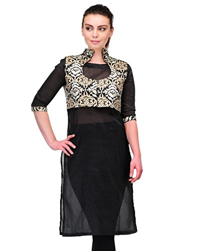 Cenizas Women's Raw Silk Kurta (KURTIS/9055Q/BLK/XL _XL_Black)