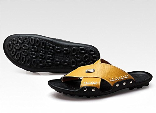 insun hommes en cuir de coutures pantoufle sandale Jaune