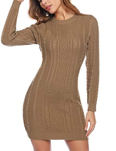 Aibrou Robe Pull Femme Col Rond à Manche Longues Robe Mi-Longue en Tricoté Elegant Pullover Robe Chic Casual Automne Hiver Chaud Chic, Kaki, S