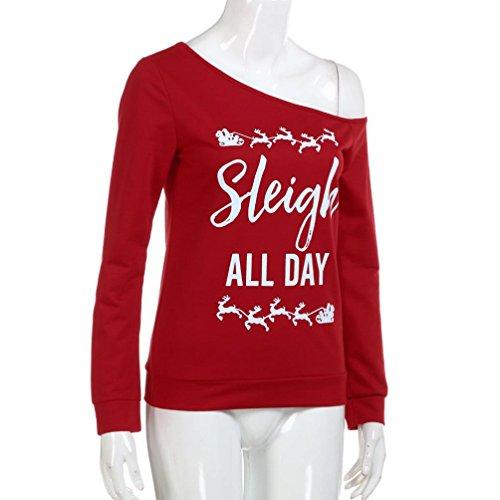 KOLY Donna Camicetta Pizzo Maglietta Maglia Blusa Manica Lunga Elegante Ufficio Camicetta Blusa shirt Elegante Cotone di Natale Lettera a maniche lunghe Felpa stampata Maglie Pullover Red