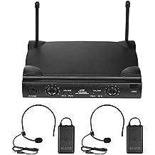 ammoon Micrófono Inalámbrico Sistema de Micrófono UHF Canales Duales con 2 Transmisor Portátil 2 Auriculares Micrófonos 1 Receptor 6,35 mm Cable de Audio Adaptador de Corriente para DJ Karaoke