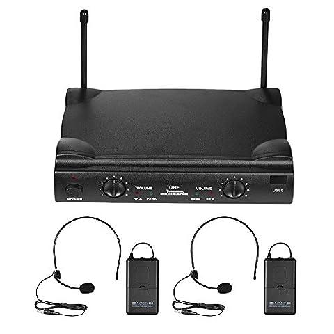 Ammoon - Système de micros sans fil UHF pour DJ et karaoké, 2 voies, avec transmetteur, 2 casques-micros, récepteur 6,35 mm, adaptateur d'alimentation