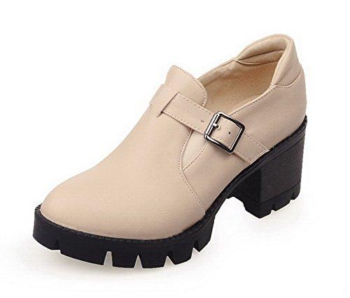 VogueZone009 Femme Rond Tire Pu Cuir Couleur Unie à Talon Correct Chaussures Légeres Beige