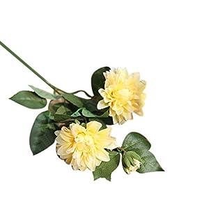 Plantas Artificiales de Profusion, 1 Unidad, románticas Flores Artificiales de Dalia Falsas para decoración de jardín, Boda, Fiesta, Seda sintética, Amarillo