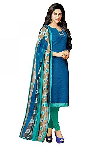 Peachmode Women's Blue - Green Malbari Silk Salwar Suit