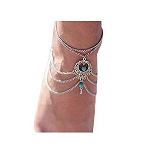 Fulltime(TM) Womens Beach Barefoot Sandal Foot Turquoise Jewelry Tassel Anklet Chain