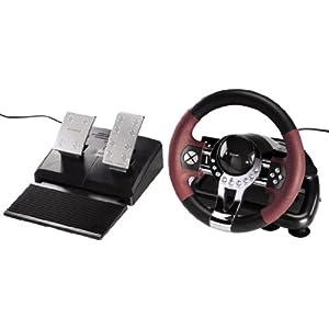Hama Racing Wheel Lenkrad (für PlayStation 3 und PC, Dual Vibration, mit Gas und Bremspedal, USB-Anschluss, Thunder V5, exklusives PC/PS3 Lenkrad) schwarz/rot/metallic
