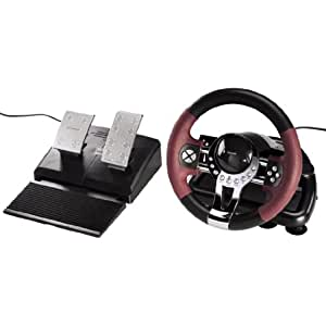 Hama Racing Wheel Thunder V5 Lenkrad für PlayStation 3 und PC (Dual Vibration, mit Gas und Bremspedal, USB-Anschluss, PS3 Lenkrad) schwarz/rot/metallic