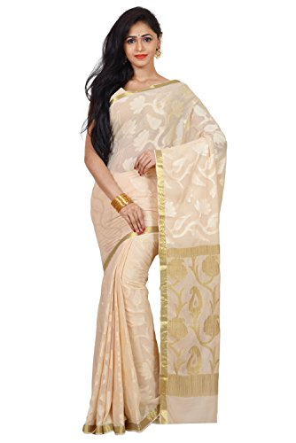 Mimosa Women's Traditional Chiffon Silk Saree Kanjivaram Style With Blouse Color:Off White(3354-2004-CF-OFFWHT )  available at amazon for Rs.1999