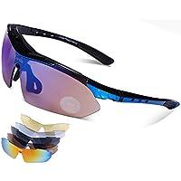 Carifa Lunettes de Soleil / Lunettes de Vélo VTT / Lunettes de Sport avec verres incassables UV400 polarisé + 5 Lentilles (B) ws4hdp