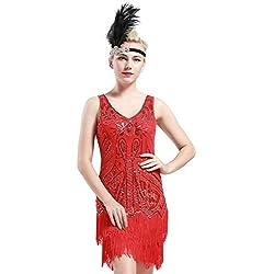 Babeyond Robe Flapper 1920 Femme Robe V Cou Robe Frangée avec Paillette Robe Perlée Gatsby sans Manche pour Occasion de Fête Bal Soirée Art Déco Tango Latine - Rouge - XL (UK 18/EU 46)
