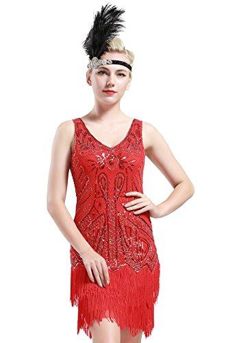 (BABEYOND Damen Retro 1920er Stil Flapper Kleider mit Zwei Schichten Troddel V Ausschnitt Great Gatsby Motto Party Kostüm Kleider- Gr. L (Fits 82-92 cm Waist & 100-110 cm Hips), Rot)