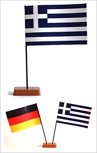 Buddel-Bini Tischflagge Griechenland und Deutschland 90x140 mm mit Ständer aus Holz, Gesamthöhe ca. 20 cm Tisch Flagge Fahne -
